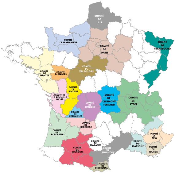 Carte de France des comités régionaux du Pèlerinage National